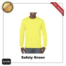NEW MANS GILDAN LONG Sleeves t shirt road worker tee G5400 safety colors