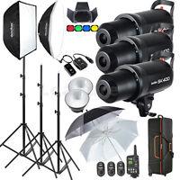 Hot Godox 3X400W Studio Flash Lighting set Photography Strobe light Portrait Kit