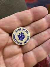 More details for vintage genuine blue peter competition winner small button badge