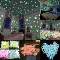 100Pcs Mix Luminous Star Wall Stickers Glow In The Room Decor Gift Kids Dar K8M4