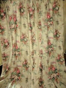 WAVERLY FLORAL RED GREEN LINEN BOUQUETS (2) PANELS CURTAINS 40X86