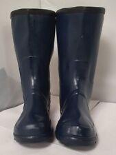 Ladies Size 4 Navy Blue Gloss Wellington Boots Outdoor Waterproof Winter W2