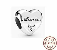 Real 925 Silver Auntie Love Heart CZ Charm fits European Bracelets + Gift Box