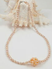High Lustre Freshwater Pearl Ball Charm & Rice Pearl Choker Necklace 16""