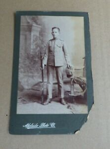 PRE- WW1  AUSTRALIAN SOLDIER PHOTO S.A CADETS MARTINI HENRY CADET RILE