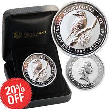 1995 Perth Mint Australian 999 Pure Silver Kookaburra Coin COA Christmas Xmas