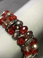 Vintage Wide Gunmetal Red Grey Rhinestone CRYSTAL   Stretch Bracelet  Style
