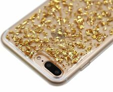 For iPhone 7+ PLUS - Hard Rubber Silicone Case Cover Sparkling GOLD Foil Bling