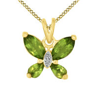 Peridot 1.29ctw, White Diamond .01ct 18K Yg Over Sterling Pendant With Chain