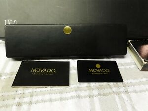 Vintage Movado Museum Watch Case Box w/Operating Manual & Warranty Card
