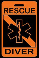 Safety Orange RESCUE DIVER SCUBA Diving Luggage/Gear Bag Tag - New