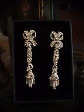 Vintage Crystal Encrusted Bow Drop Pierced Earrings