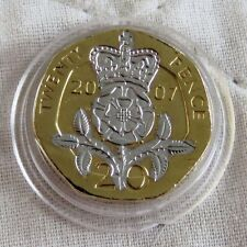 2007 QEII 20 PENCE GOLD LAYERED WITH RHODIUM - PLATINUM