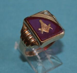 Vtg MASONIC 10K YELLOW GOLD DIAMOND & GEMSTONE Sz8.75 MEN'S SIGNET RING, 6.8gr
