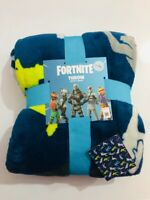 Fortnite Soft Bed Throw Home Bed Fleece Blue Blanket Gift 120X150cm Primark