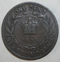 Newfoundland One Cent Coin 1894 - KM# 1 - Canada Queen Victoria 1 Penny