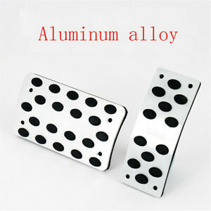 2 PCS Universal AT Pedals Pads Silver Car Gas Brake Metal Pedal Non-Slip Covers