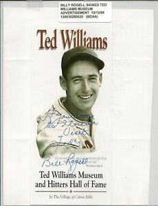 Detroit Tigers Billy Rogell Signed Ted Williams Museum Advertisement