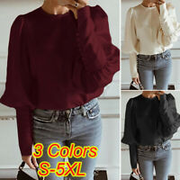 UK 10-24 Womens Long Sleeve Crew Neck Loose Top Ladies Work Office Shirt Blouse
