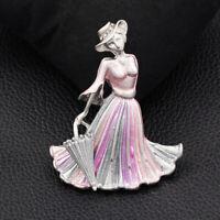 Betsey Johnson Enamel Crystal Elegant Lady Umbrella Charm Women's Brooch Pin
