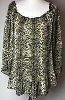Blue Diamond Plus Women's Blouse Top 22 Brown Black Animal Print Leopard Elastic