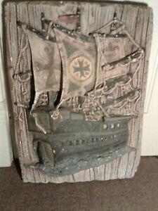 Plaster Wall Hanging Colonial Ship Pirate Conquistador Frigate Handmade Unique