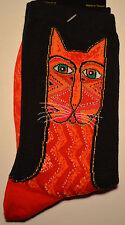 "Laurel Burch Cat Pattern Socks-""TRIBAL ZIG-ZAG CAT-RED"" #15H00301"
