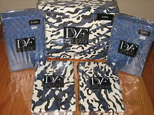 5pc DVF LEOPARD SEA SPLASH Navy Blue Black White KING DUVET COVER, SHAMS, EUROS