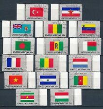 Gestempelte Briefmarken der Vereinten Nationen mit Flaggen-und Wappen-Motiv