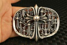 S925 Solid silver star cross buckle Belts 118g man boy friend gift
