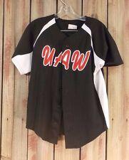 UAW #00 Jersey Black Button Down Front Baseball Shirt  Men's Size L 34-36