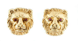 """14kt Yellow Gold Men's Lion Head with Red Stones Cufflinks 1"""""""