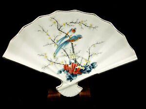 Japan Fan Porcelain Trinket Dish, Jay Fine China, Colorful Birds Trees & Flowers