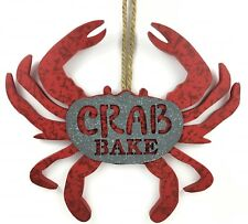 Crab Bake Wall Decor Sign Blue or Red Decorative Hanging Plaque Coastal Decor
