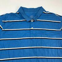 St. John's Bay Polo Shirt Men's Size 2XL XXL Short Sleeve Blue Striped Cotton