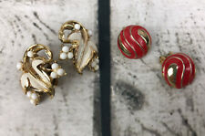 Vintage lot: 2 pair 1980's/90's Coro and Other Clip on Earrings Costume Jewelry