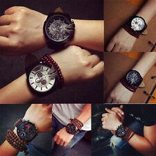 Mens Fashion Casual Faux Leather Quartz Analog Wrist Watch Large dial Watches