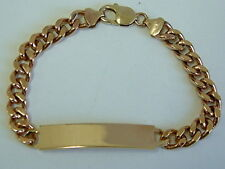 GENTS SOLID 9CT YELLOW GOLD IDENTITY CURB BRACELET - 8.5 INCHES - OVER ONE OUNCE