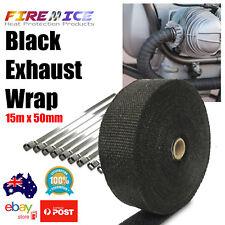Exhaust Wrap Motorbike Motorcycle Bike Black 15m x 50mm Harley Heat Wrap