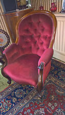 Solid Mahogany Red Velvet Victorian Period Traditional Grandfather Arm Chair