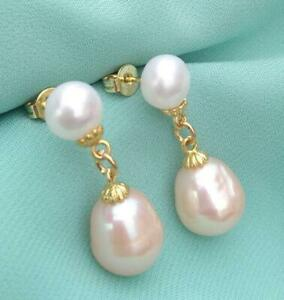 Pretty Design Natural AAAA South Sea White Pink Pearl Stud Earrings 14k Gold