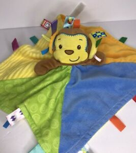 Taggies Baby Security Blanket Monkey Multi Color Plush Tabs Soft