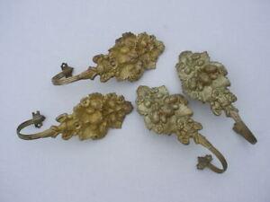 Two Pair of Mid 19th Century Brass Acorn Oak Leaf Pattern Curtain Tie Backs