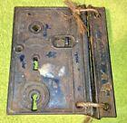 Antique R.H. Co. Rim Lock Large Unique 2 Key Style w/ Original Catch