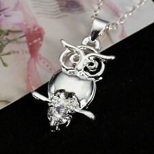 Silver Women Owl Charms Crystal Rhinestone Pendant Necklace New