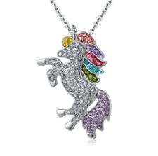 SUPER BLING, Rhinestone Unicorn Pendant / Necklace Fashion Jewelry (Silver Tone)