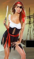 New Sexy Pirate Buccaneer 4 Piece Costume Eye Patch Scarves Sword One Size