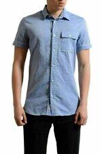 Versace Jeans Men's Blue Button Down Short Sleeve Casual Shirt US S IT 48
