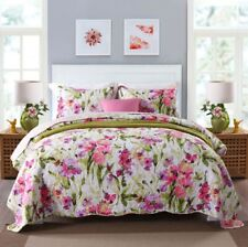 new cotton 3pcs bedspread Coverlet quilted queen king Floral Pink Green Vibrant