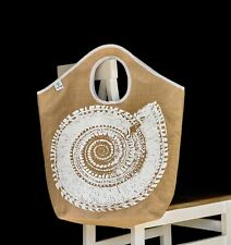 Jute extra large beach tote shopping bag white shell design phone pocket wipeout